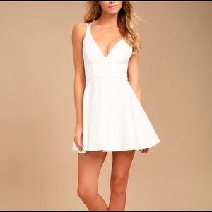 Lulu's White Backless Skater Dress Sz S